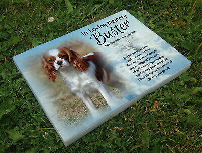 Personalised grave headstone memorial plaque pet dog Cavalier king charles