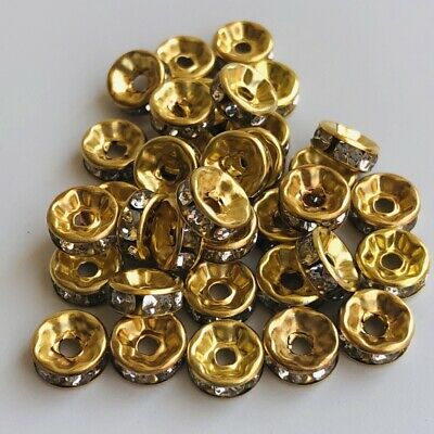 75X Spacer Bead 7.5mm Crystal Rhinestone Gold Disc Shape Jewellery Making Beads