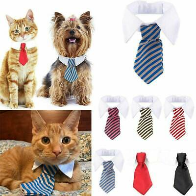 Pet Dog Striped Necktie Cat Bow Tie Collar Adjustable Bowknot Clothes Grooming