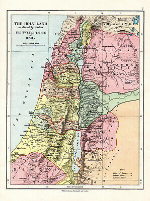 Map Of Israel The Holy Land Joshua Bible  W & A K Johnston C1880 Antique