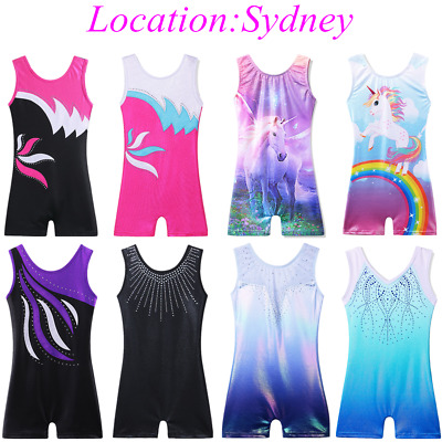 AU Store Gymnastic Clothes Kid Girls Leotards Shorts One-piece Gym Outfit 3-11Y