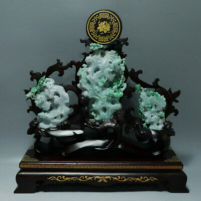 Chinese Hand-carved flower bird insect Carving natural jadeite jade statue
