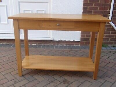 Solid Oak  Console Table With 1 Drawer And A Bottom Shelf.