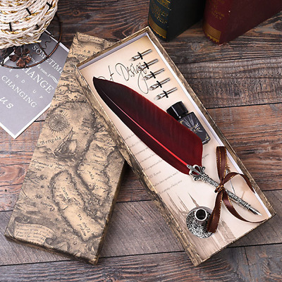 Calligraphy Feather Dip Pen Writing Ink Set Stationery Gift Box Quill Fountain