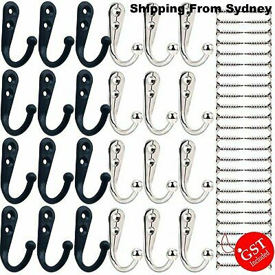 10X Hooks Wall Hanger Stainless steel Coat Hat Clothes Robe Holder Rack Hook AU