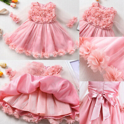 Kids Baby Girl Princess Dress Wedding Bridesmaid Party Flower Bow Tutu Dresses