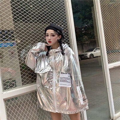 Girls Holographic Neon Loose Hooded Jacket Shiny Zipped Sun Protect Coat Stage