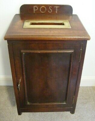 RARE LARGE FINE ANTIQUE WOODEN COUNTRY HOUSE HOTEL LETTER POST BOX & KEY c1890
