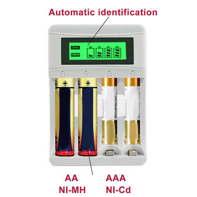 Smart Battery Charger LCD Display 4 Slots for AA/AAA NiCd NiMh Rechargeable