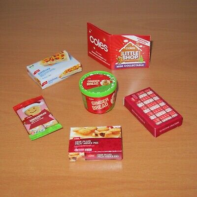 Coles Little Shop : Christmas Edition Full Set Of 5 Mini Collectables ~ No Case