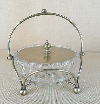 Very Elegant Vintage Silver Plated EPNS & Cut Glass Sugar Bowl