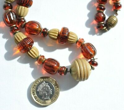 Classic Art Deco Resin/Celluloid Amber & Cream Necklace w/Brass Clasp 1930s