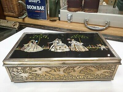 Vintage Mahogany And Silver Plated Trinket Box With Hand painted Glass Top