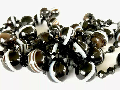 ANTIQUE VICTORIAN Hand Knotted BULLSEYE BANDED AGATE BEAD NECKLACE 42 Inches