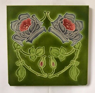 Stunning Original Antique Art Nouveau Majolica Rose Tile C1907 J H Barratt
