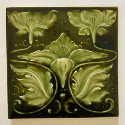 Stunning Original Antique Art Nouveau Majolica Tile C1902 H Richards