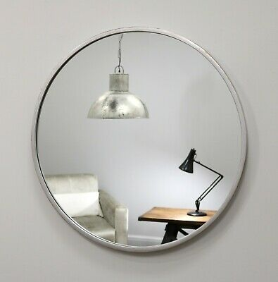"""Metro Silver Round Industrial Metal Overmantle Wall Mirror 16"""" (40cm)"""