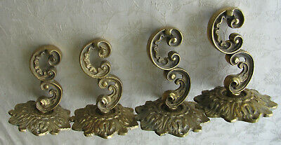Curtain holders (4), tie backs, antique, solid brass GLO MAG, Art Works, INC