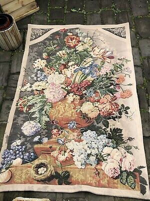 Antique English Country House Floral Urn With Cherubs Tapestry Wall Hanging