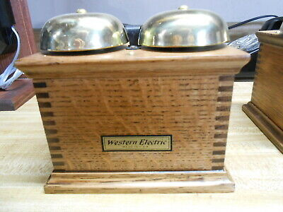 Vintage Telephone Ringer Western Electric Oak Working #2