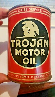 1950'S Cities Service Trojan One Quart Motor Oil Can