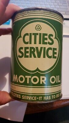 1950'S Cities Service One Quart Motor Oil Can Full