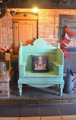 Great Shape Rustic Shabby Chic High Back Pine Hall Bench Fireside Settle