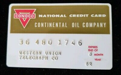 Western Union Conoco Continental Oil Credit Card exp 1962 ♡Free Shipping♡cc187
