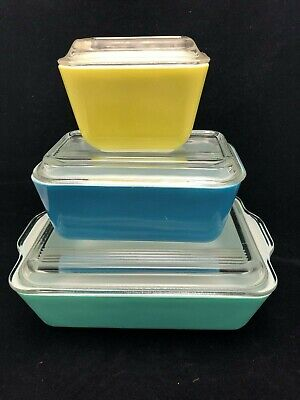 Vintage Pyrex Refrigerator Glass Dishes - Set Of 3 - Green Yellow Blue
