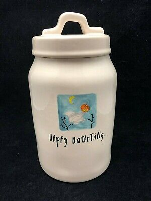 New - Rae Dunn Canister Happy Haunting - Haloween
