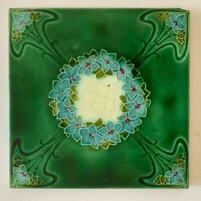 Lovely Original Antique Art Nouveau Edwardian  Majolica Tile C1908