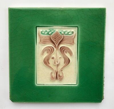 Lovely Original Antique Art Nouveau Majolica Tile C1905 H A Ollivant
