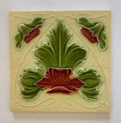 Gorgeous Original Antique Art Nouveau Majolica Tile C1901 H A Ollivant