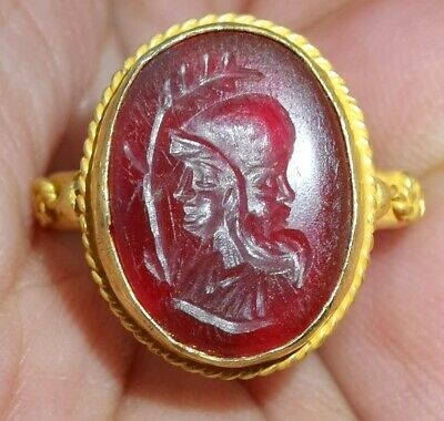 Ruby Jewel Ancient High Carat Gold 2 King Faces Seal Ring #27