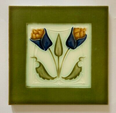 Lovely Original Antique Art Nouveau Majolica Tile C1907