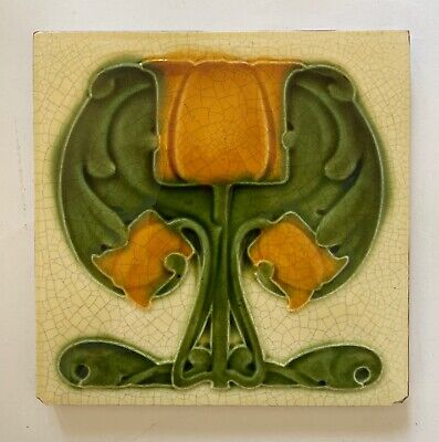 Lovely Original Antique Art Nouveau moulded Majolica Tile C1905