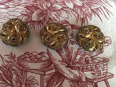 3 Antique French Pressed Bronze / Brass Picture Hook Covers Cache Clou