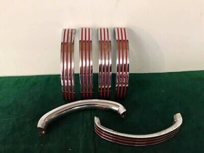 Mid Century Art Deco Vintage Chrome And Red Cabinet Handles