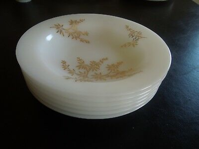 "6 Vintage Federal Glass Golden Glory 8"" Soup Bowls"