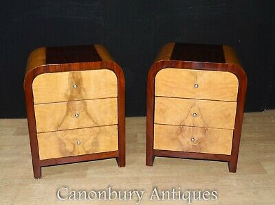 Pair Art Deco Nightstands Bedside Tables - Blonde Walnut Chests Commodes