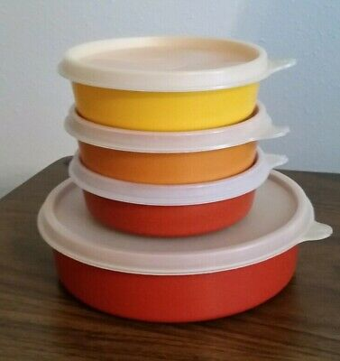Tupperware (3) Little Wonder Bowls #1286 & (1) Big Wonder Bowl #1405 w/Lids