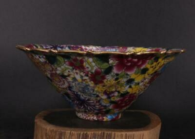 chinese old porcelain hand-painted Colored enamel flowers pattern bowl 10232