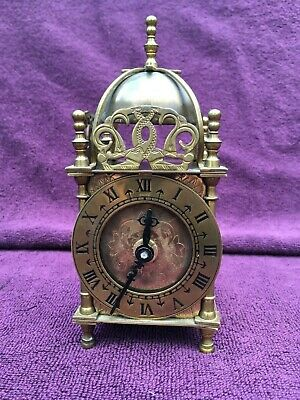Vintage Antique Smiths Quartz Brass Lantern Mantel Clock Diamond Jubilee c1962
