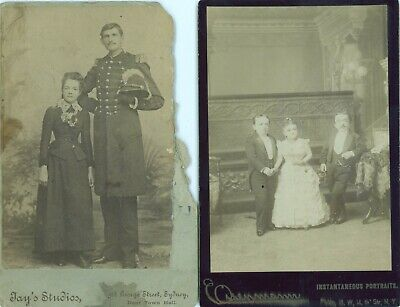 TWO CIRCUS FREAK CABINET PHOTOS Magri Family and a RARE Giant, Charles Robinson