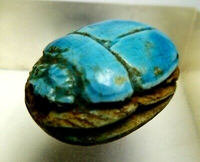 H61.Antique Egipt.Scarab of enemalled Shell W/Hieroglyphs.