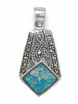 Ancient Roman Glass and Marcasite Pendant Necklace Sterling Silver, Pendant Only