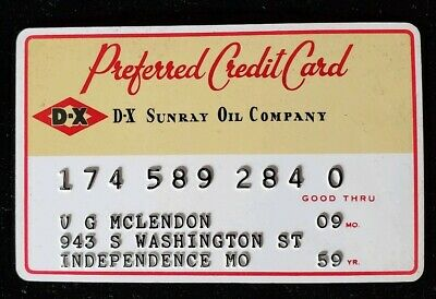 DX Sunray Oil Company Preferred Credit Card Exp 1959 ♡Free Shipping♡cc204♡