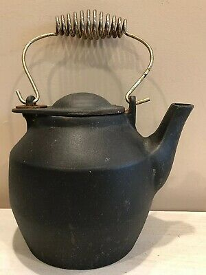 Vintage Antique Cast Iron Tea Pot Hearth Water Kettle Rustic Swivel Lid