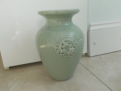Vintage Large Chinese Celadon Pale Green Vase With Embossed Serpents