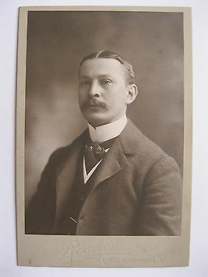 Vintage Cabinet Card Photo Man with Mustache by Roshon from Harrisburg, PA.